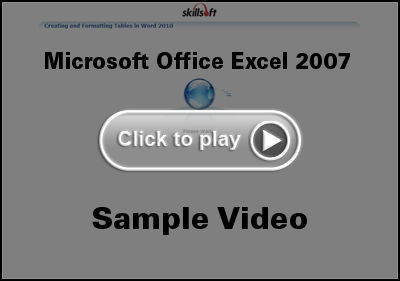 Microsoft Office Excel 2007 Training Video